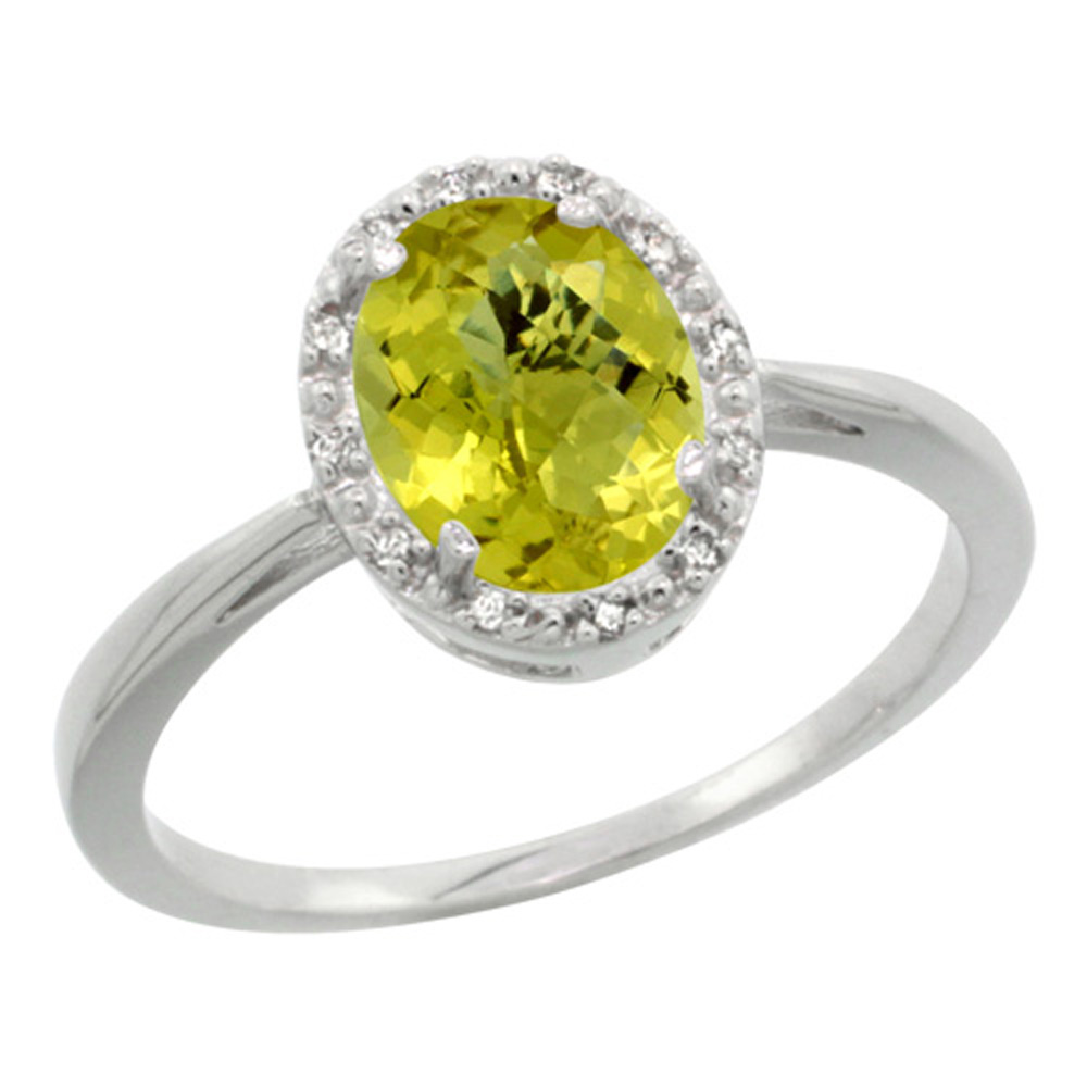 Sterling Silver Natural Lemon Quartz Diamond Halo Ring Oval 8X6mm, 1/2 inch wide, sizes 5 10