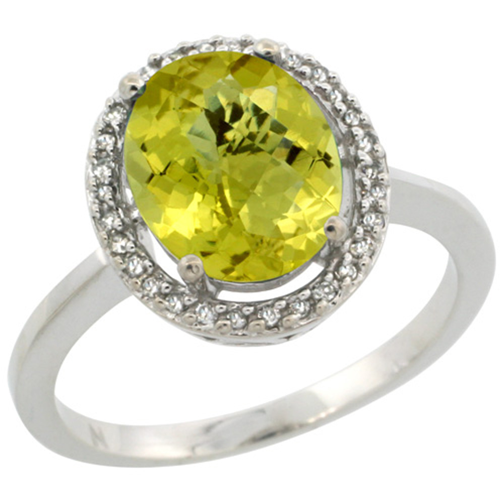 Sterling Silver Diamond Halo Natural Lemon Quartz Ring Oval 10X8 mm, 1/2 inch wide, sizes 5 10