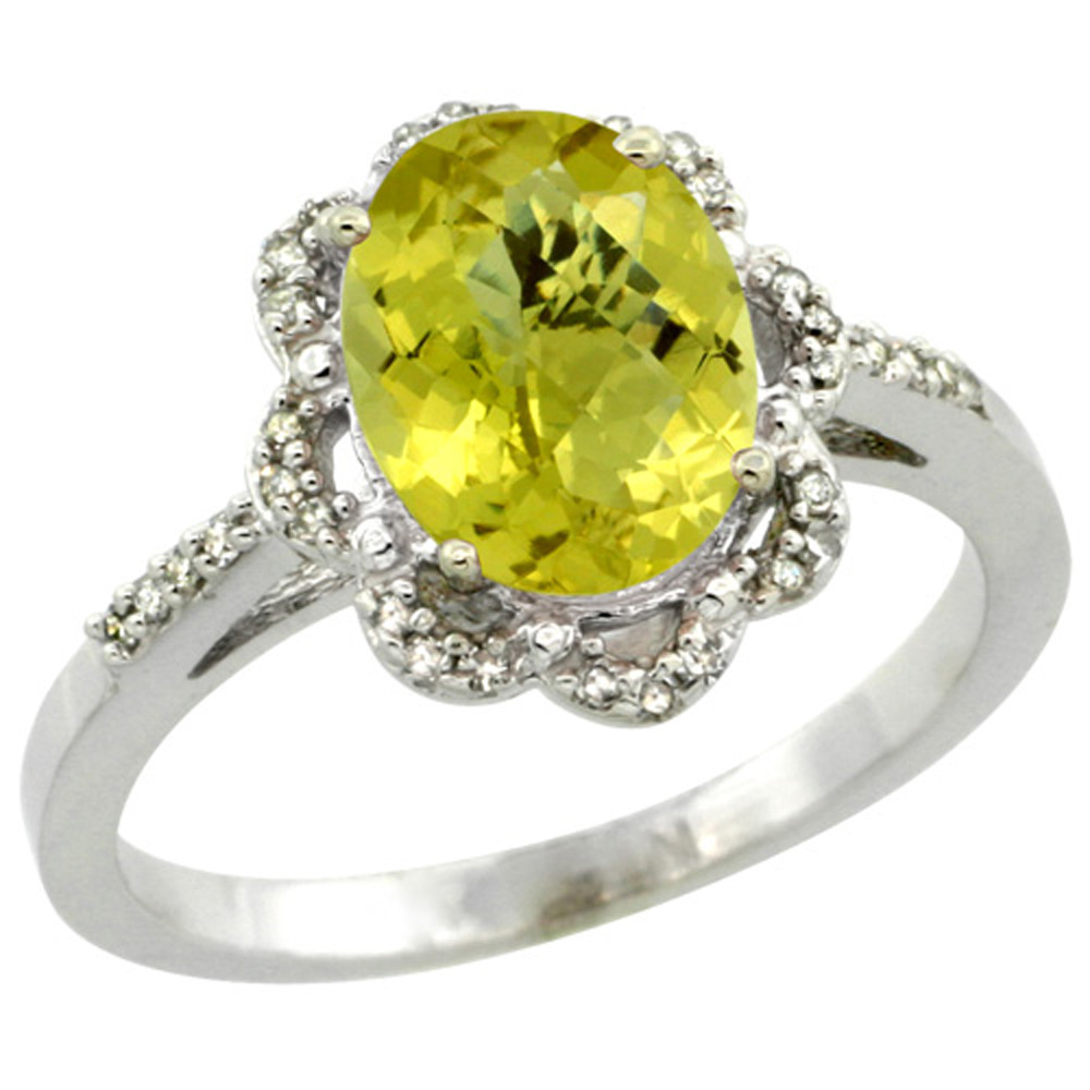 Sterling Silver Diamond Halo Natural Lemon Quartz Ring Oval 9x7mm, 7/16 inch wide, sizes 5-10