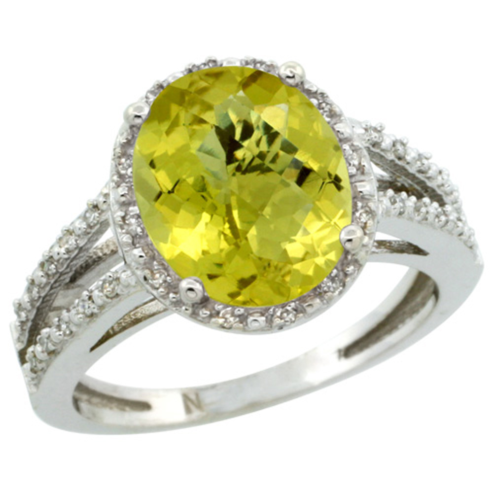Sterling Silver Diamond Halo Natural Lemon Quartz Ring Oval 11x9mm, 7/16 inch wide, sizes 5-10