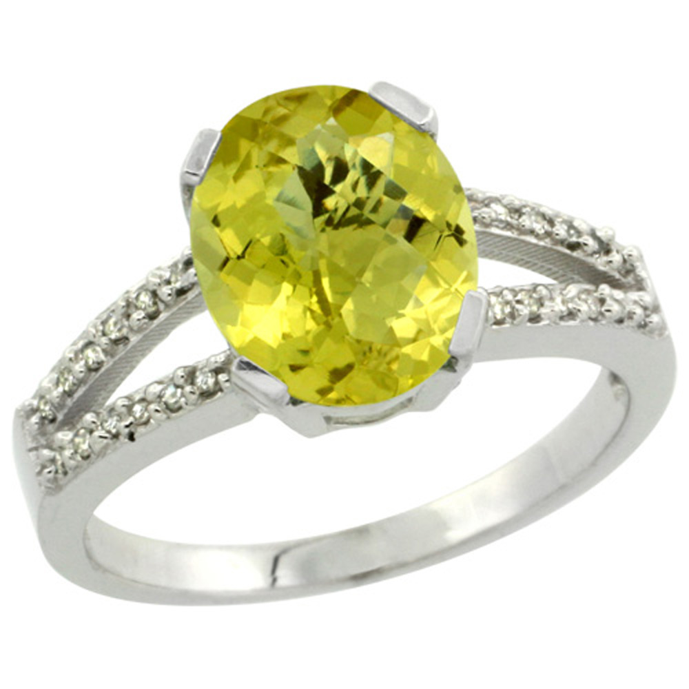 Sterling Silver Diamond Halo Natural Lemon Quartz Ring Oval 10x8mm, 3/8 inch wide, sizes 5-10