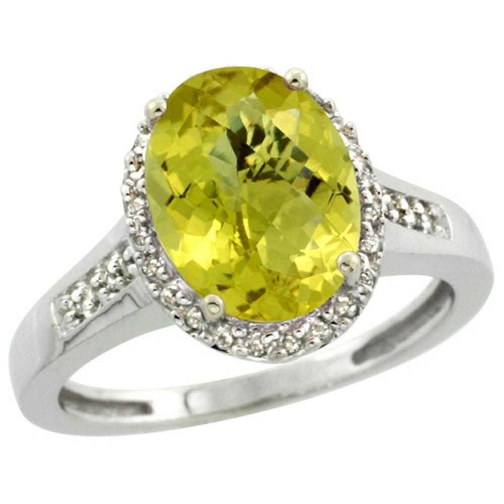 Sterling Silver Diamond Natural Lemon Quartz Ring Oval 10x8mm, 1/2 inch wide, sizes 5-10