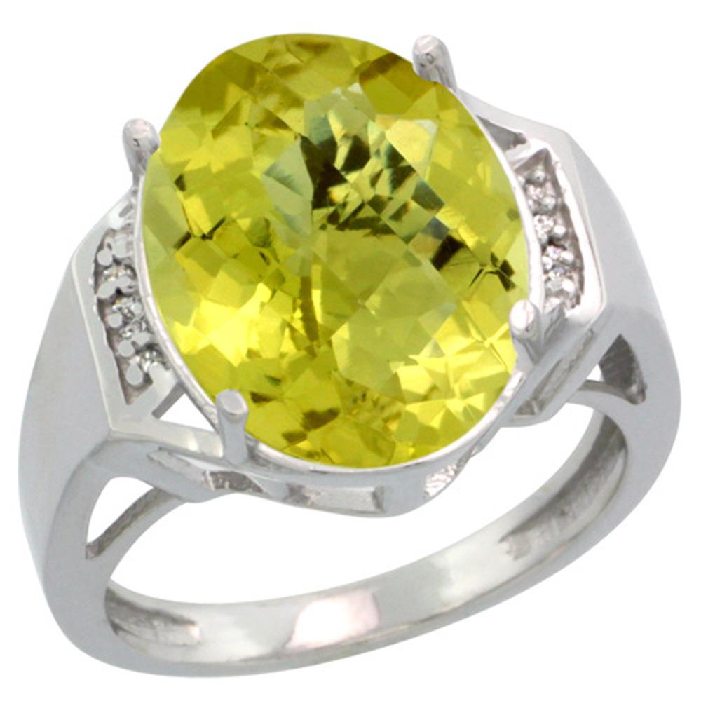 Sterling Silver Diamond Natural Lemon Quartz Ring Oval 16x12mm, 5/8 inch wide, sizes 5-10