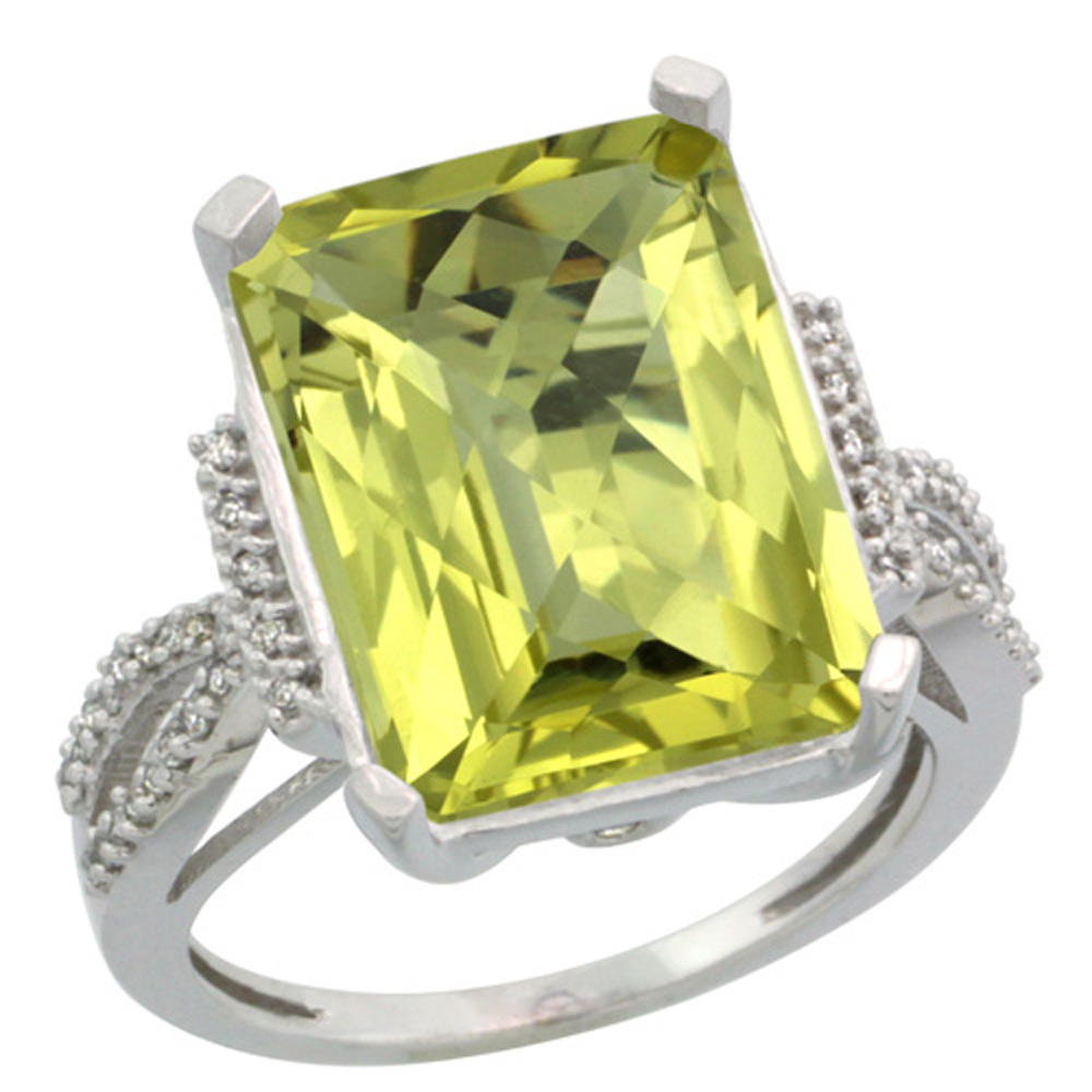 Sterling Silver Diamond Natural Lemon Quartz Ring Emerald-cut 16x12mm, 3/4 inch wide, sizes 5-10