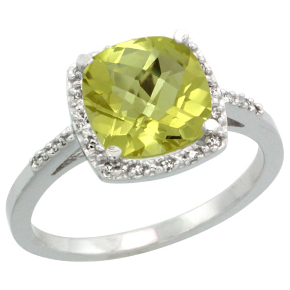Sterling Silver Diamond Natural Lemon Quartz Ring Cushion-cut 8x8mm, 1/2 inch wide, sizes 5-10