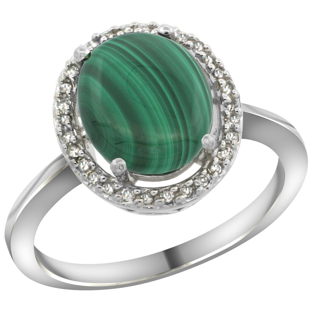 Sabrina Silver Sterling Silver Diamond Halo Natural Malachite Ring Oval 10X8 mm, 1/2 inch wide, sizes 5 10
