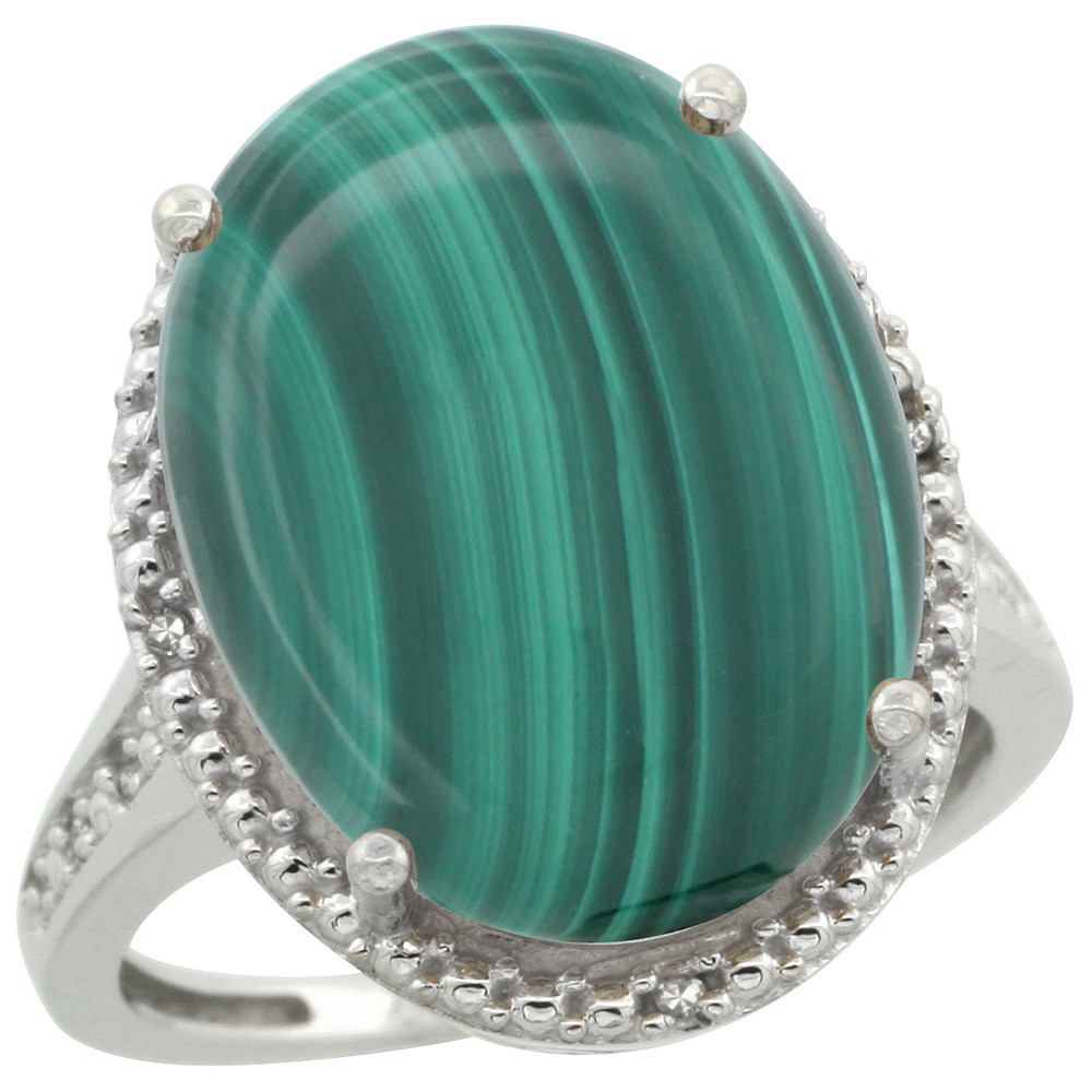 Sabrina Silver Sterling Silver Diamond Natural Malachite Ring Oval 18x13mm, 3/4 inch wide, sizes 5-10