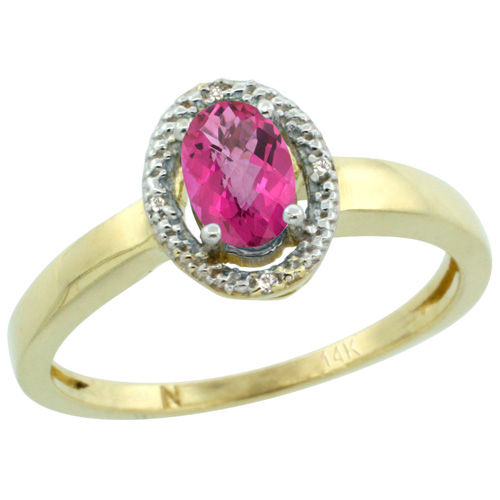 Sabrina Silver 14k Yellow Gold Diamond Halo Pink Topaz Ring 0.75 Carat Oval Shape 6X4 mm, 3/8 inch (9mm) wide, size 8 at Sears.com