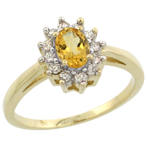 Sabrina Silver 14k Yellow Gold Citrine Diamond Halo Ring Oval Shape 1.2 Carat 6X4 mm, 1/2 inch wide, sizes 5-10 at Sears.com
