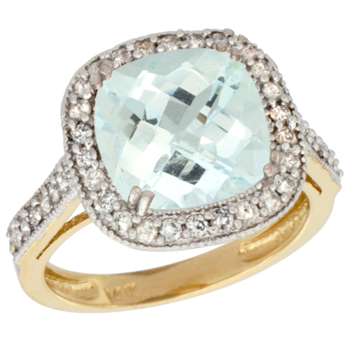 Sabrina Silver 14k Yellow Gold Diamond Halo Aquamarine Ring Checkerboard Cushion 9 mm 2.4 ct 1/2 inch wide, size 10 at Sears.com