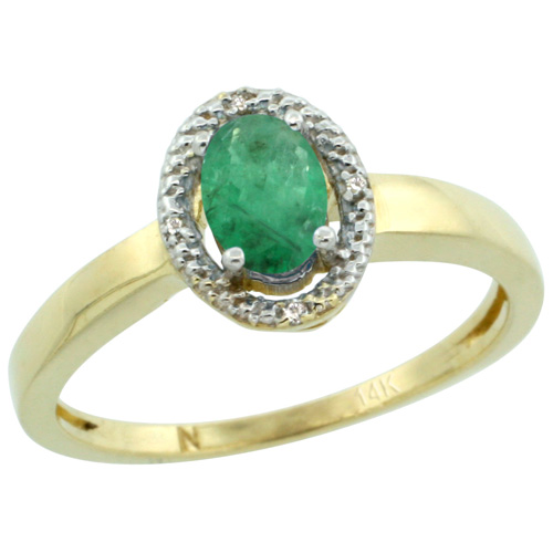 Sabrina Silver 14k Yellow Gold Diamond Halo Emerald Ring 0.75 Carat Oval Shape 6X4 mm, 3/8 inch (9mm) wide, size 10 at Sears.com