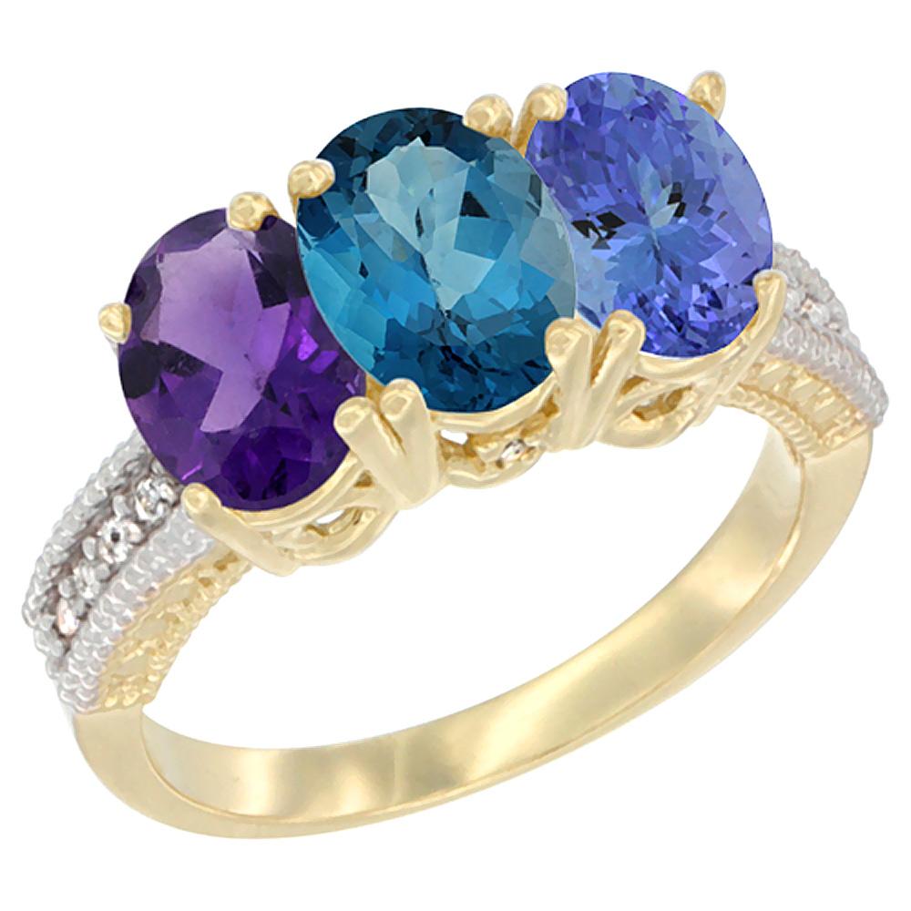 Sabrina Silver 14K Yellow Gold Natural Amethyst, London Blue Topaz & Tanzanite Ring 3-Stone 7x5 mm Oval Diamond Accent, sizes 5 - 10 at Sears.com