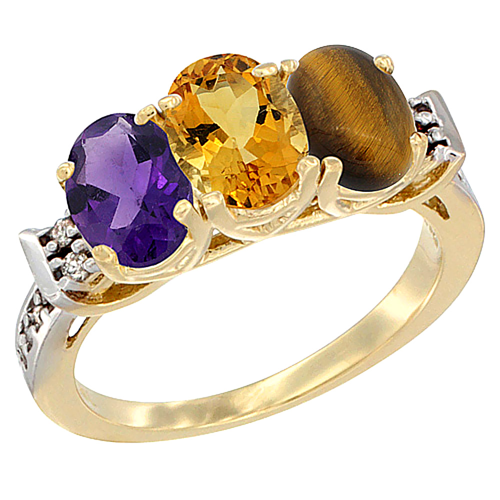 Sabrina Silver 10K Yellow Gold Natural Amethyst, Citrine & Tiger Eye Ring 3-Stone Oval 7x5 mm Diamond Accent, sizes 5 - 10 at Sears.com