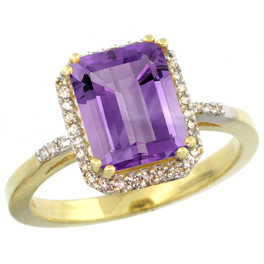 14K Yellow Gold Diamond Natural Amethyst Ring Emerald-cut 9x7mm, sizes 5-10