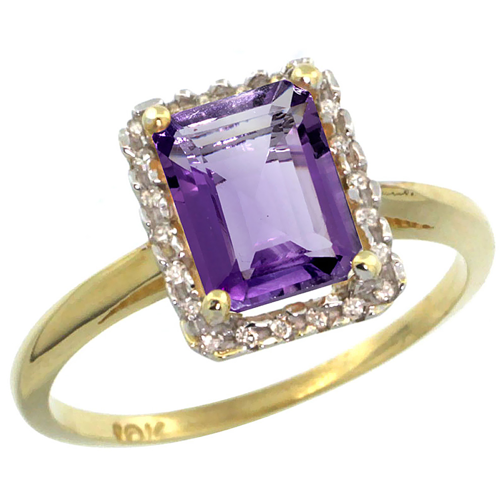 14K Yellow Gold Diamond Natural Amethyst Ring Emerald-cut 8x6mm, sizes 5-10