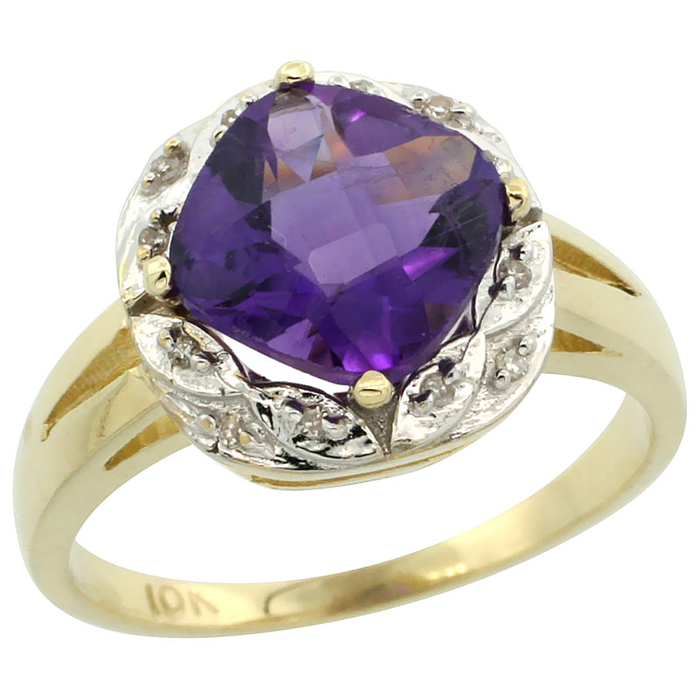 10k Yellow Gold Diamond Halo Genuine Amethyst Ring Cushion-cut 8x8mm sizes 5-10