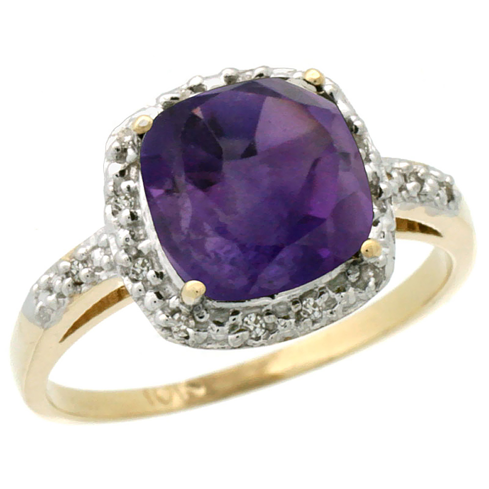 14K Yellow Gold Diamond Natural Amethyst Ring Cushion-cut 8x8 mm, sizes 5-10