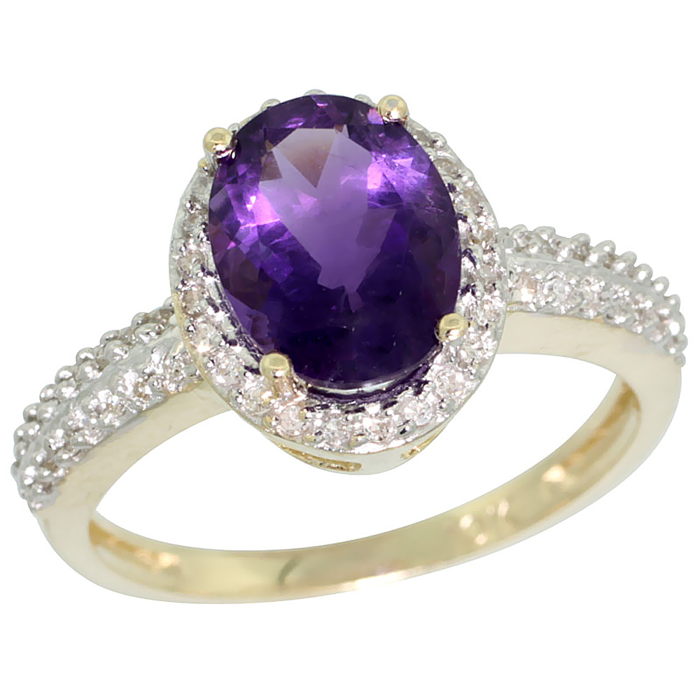 14K Yellow Gold Diamond Natural Amethyst Ring Oval 9x7mm, sizes 5-10
