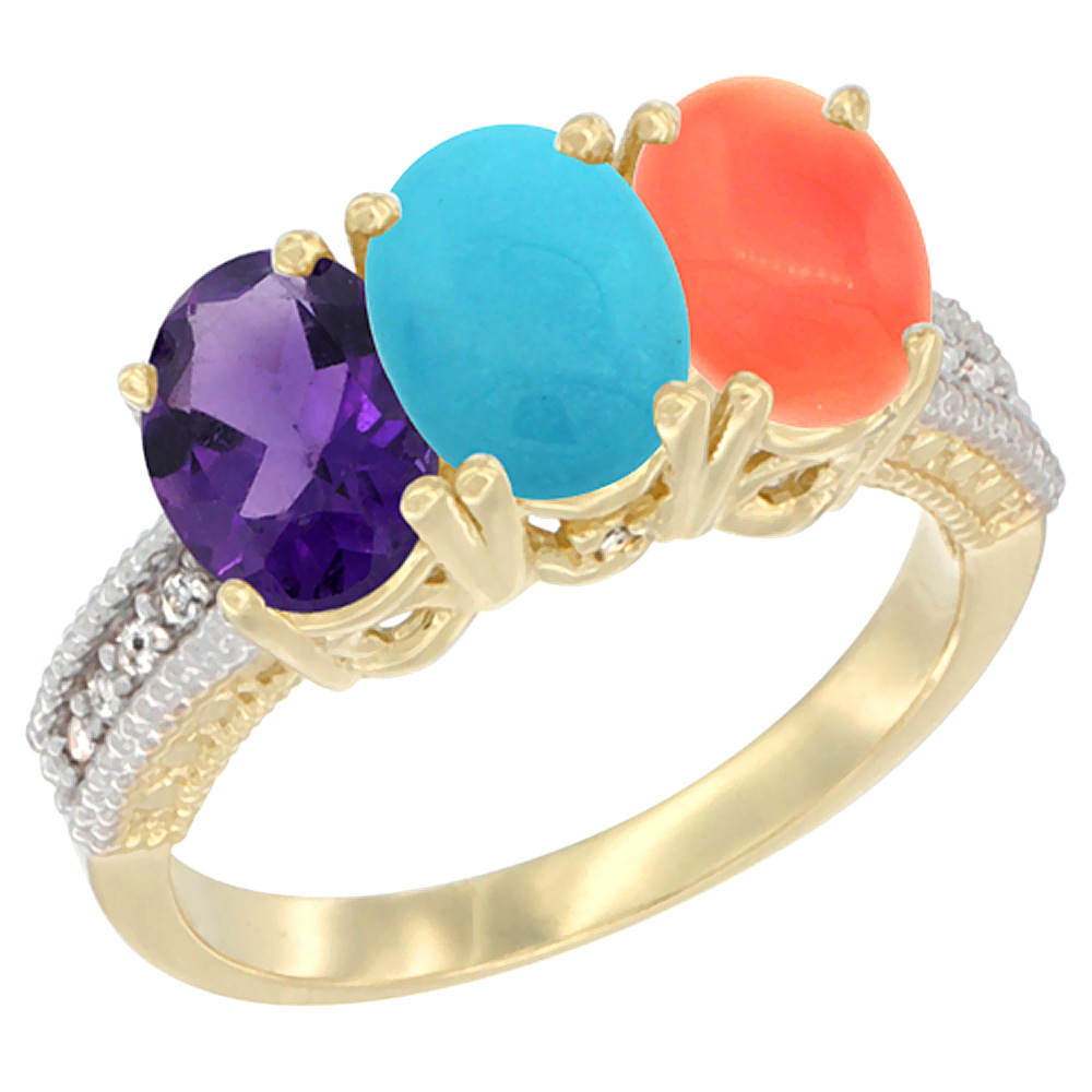 Sabrina Silver 10K Yellow Gold Diamond Natural Amethyst Turquoise & Coral Ring Oval 3-Stone 7x5 mm sizes 5-10