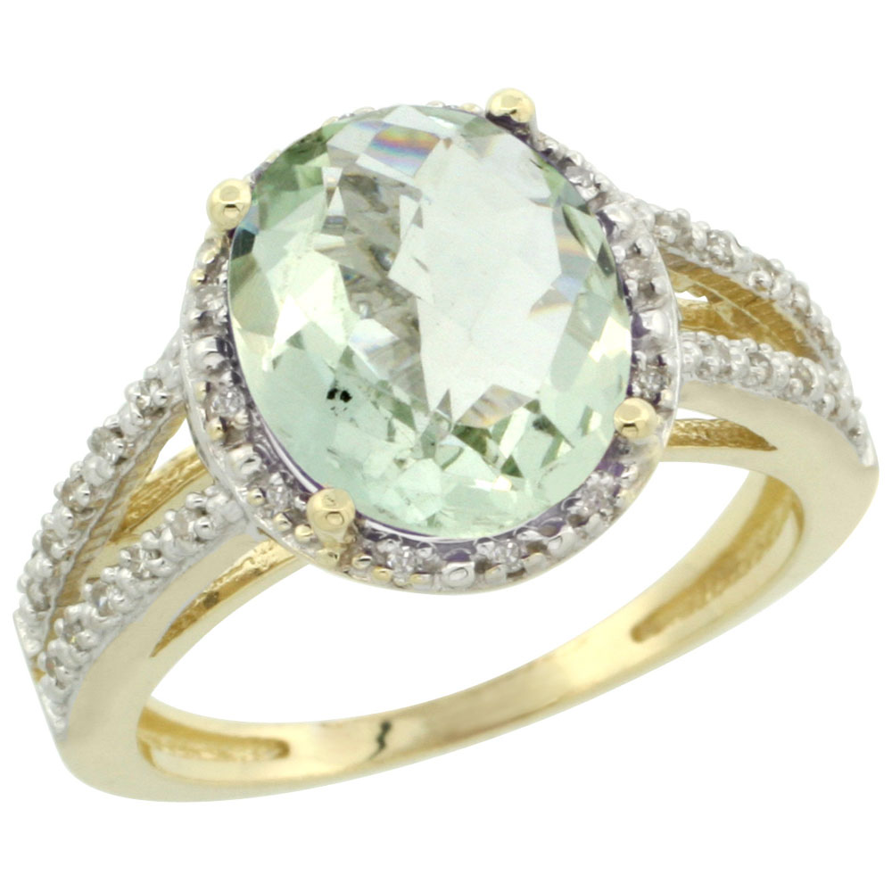 14K Yellow Gold Natural Green Amethyst Diamond Halo Ring Oval 11x9mm, sizes 5-10