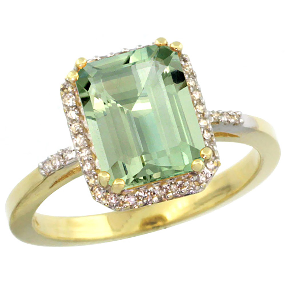 14K Yellow Gold Diamond Natural Green Amethyst Ring Emerald-cut 9x7mm, sizes 5-10