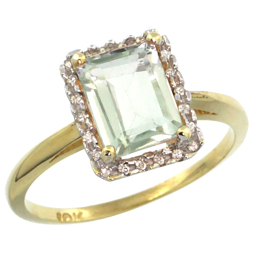 14K Yellow Gold Diamond Natural Green Amethyst Ring Emerald-cut 8x6mm, sizes 5-10