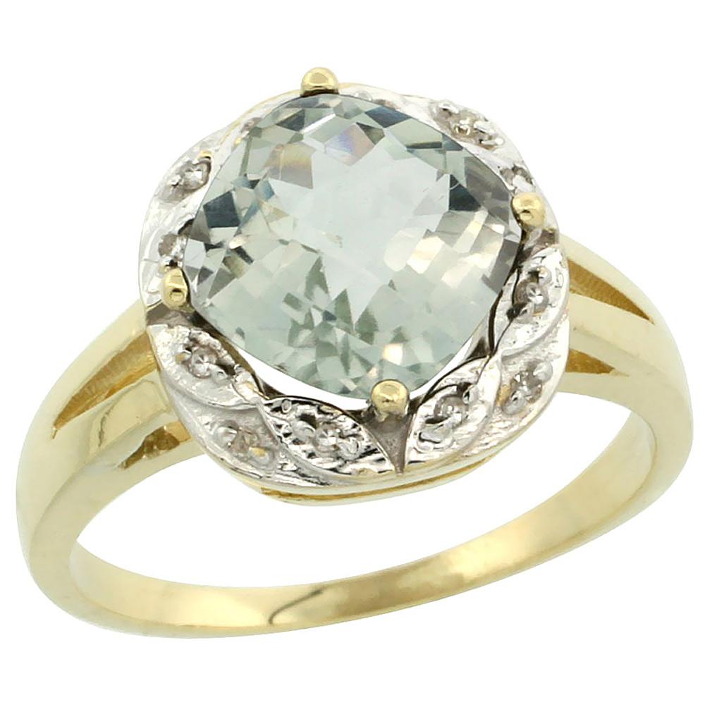 10k Yellow Gold Diamond Halo Genuine Green Amethyst Ring Cushion-cut 8x8mm sizes 5-10