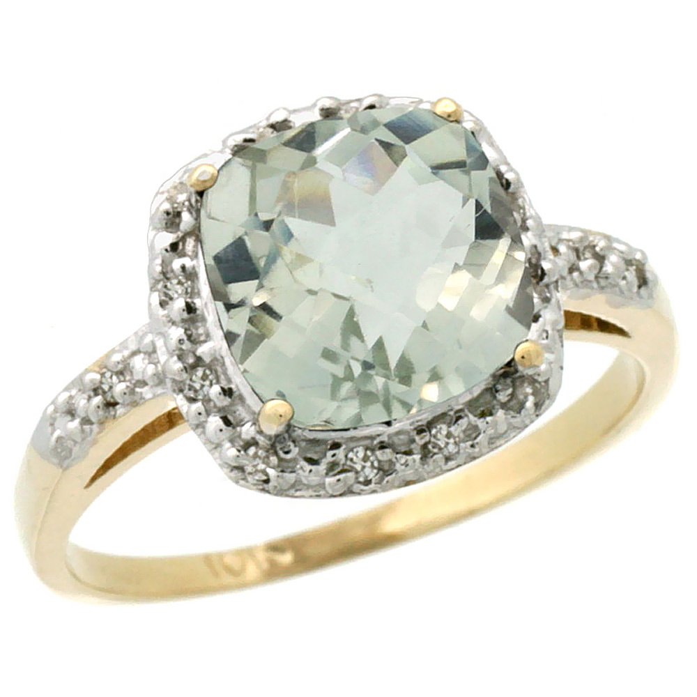 10K Yellow Gold Diamond Natural Green Amethyst Ring Cushion-cut 8x8 mm, sizes 5-10