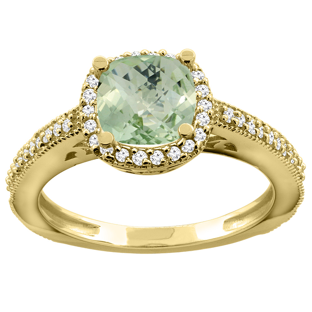14K Yellow Gold Natural Green Amethyst Engagement Ring Diamond Halo Cushion 7mm, sizes 5 - 10