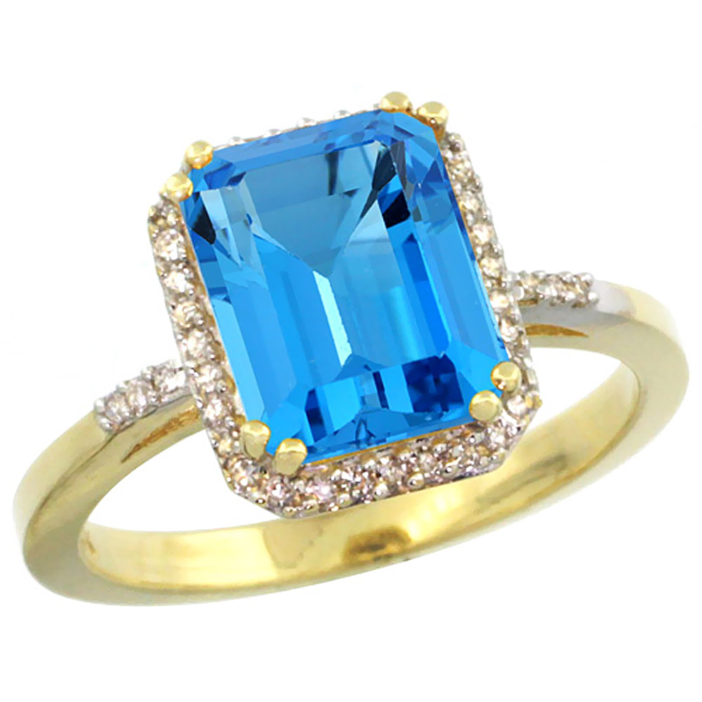 10K Yellow Gold Diamond Natural Swiss Blue Topaz Ring Emerald-cut 9x7mm, sizes 5-10