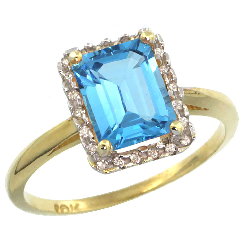 10K Yellow Gold Diamond Natural Swiss Blue Topaz Ring Emerald-cut 8x6mm, sizes 5-10