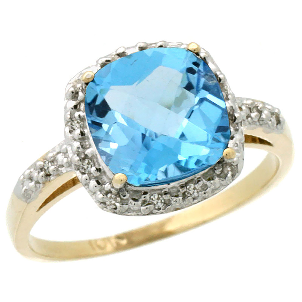 14K Yellow Gold Diamond Natural Swiss Blue Topaz Ring Cushion-cut 8x8 mm, sizes 5-10