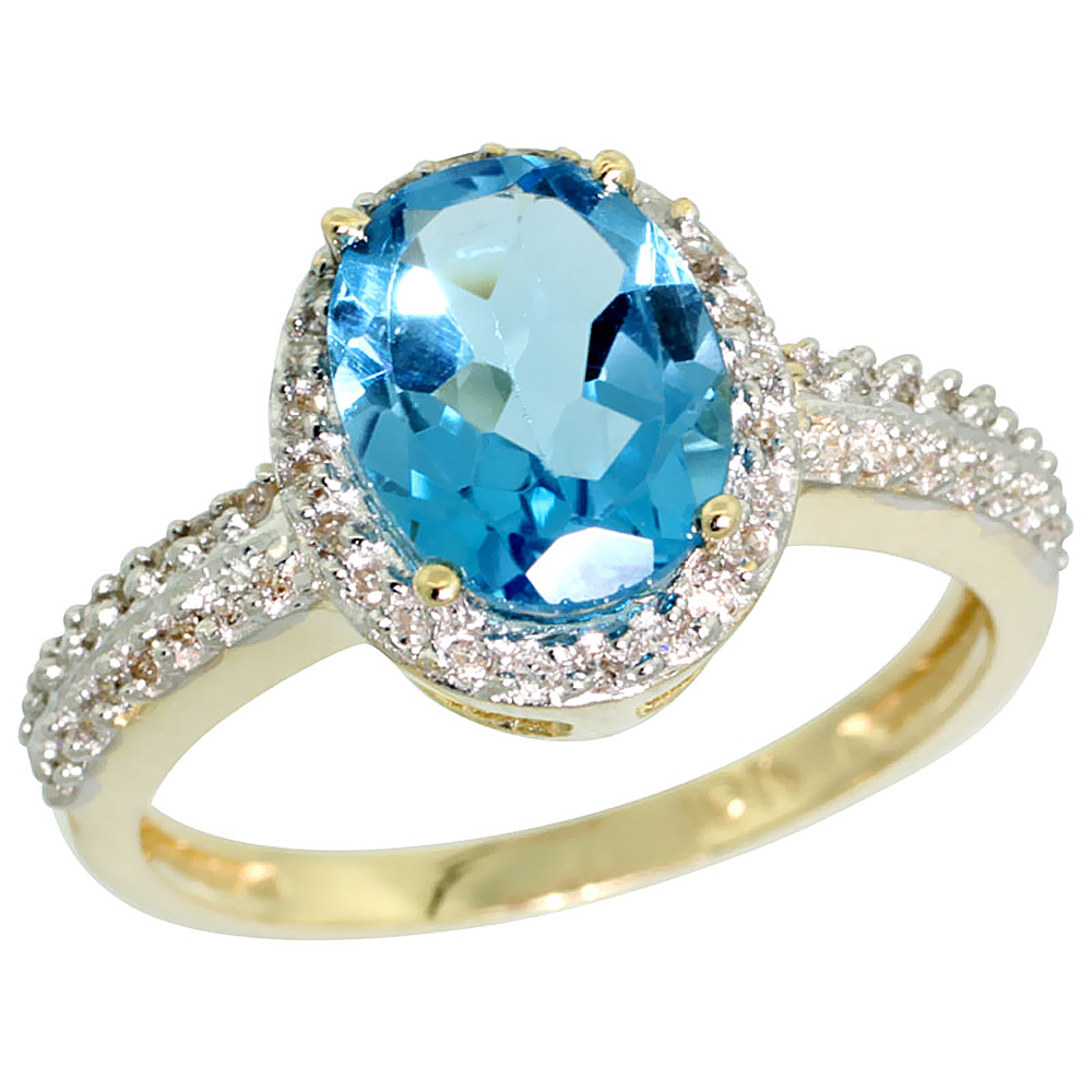 10K Yellow Gold Diamond Natural Swiss Blue Topaz Ring Oval 9x7mm, sizes 5-10