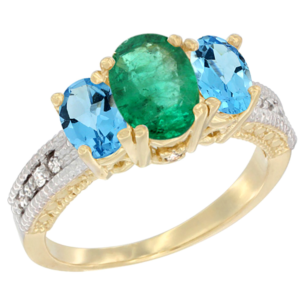 Sabrina Silver 14K Yellow Gold Diamond Natural Emerald Ring Oval 3-stone with Swiss Blue Topaz, sizes 5 - 10