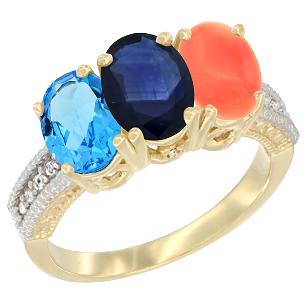 Sabrina Silver 14K Yellow Gold Natural Swiss Blue Topaz, Blue Sapphire & Coral Ring 3-Stone 7x5 mm Oval Diamond Accent, sizes 5 - 10 at Sears.com