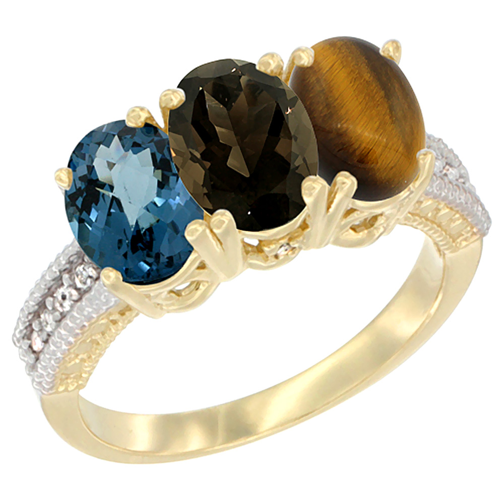 Sabrina Silver 14K Yellow Gold Natural London Blue Topaz, Smoky Topaz & Tiger Eye Ring 3-Stone 7x5 mm Oval Diamond Accent, sizes 5 - 10 at Sears.com