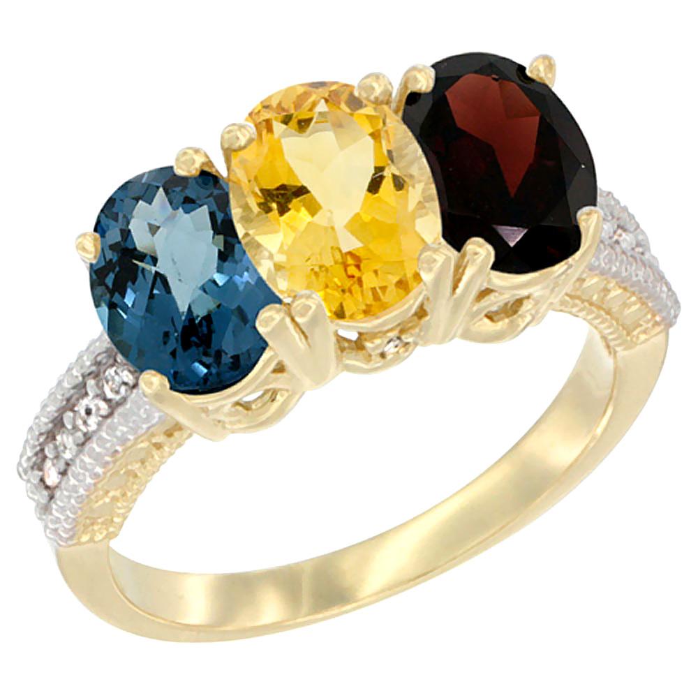 Sabrina Silver 10K Yellow Gold Natural London Blue Topaz, Citrine & Garnet Ring 3-Stone Oval 7x5 mm Diamond Accent, sizes 5 - 10 at Sears.com