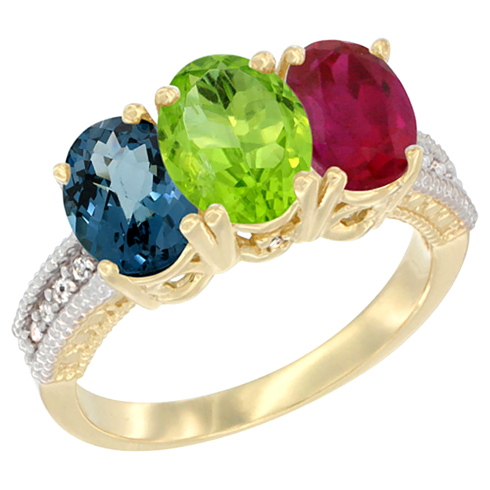Sabrina Silver 10K Yellow Gold Natural London Blue Topaz, Peridot & Ruby Ring 3-Stone Oval 7x5 mm Diamond Accent, sizes 5 - 10 at Sears.com
