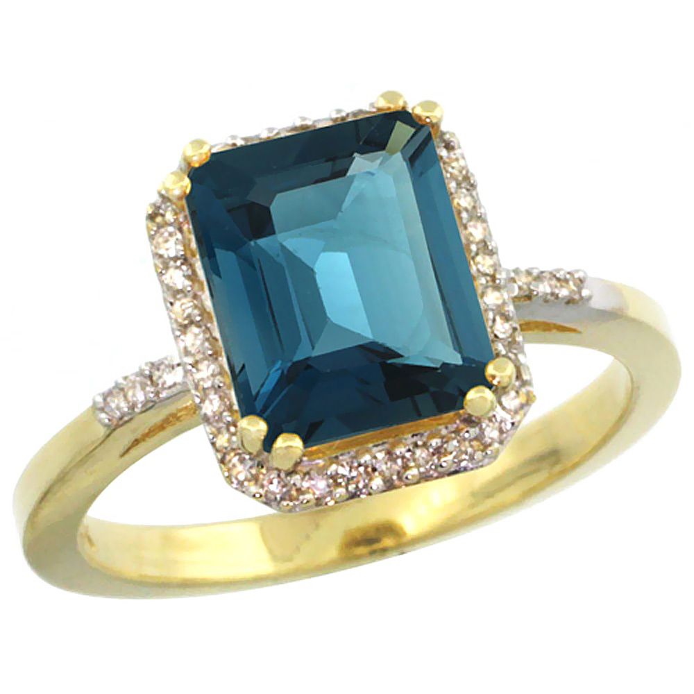 10K Yellow Gold Diamond Natural London Blue Topaz Ring Emerald-cut 9x7mm, sizes 5-10