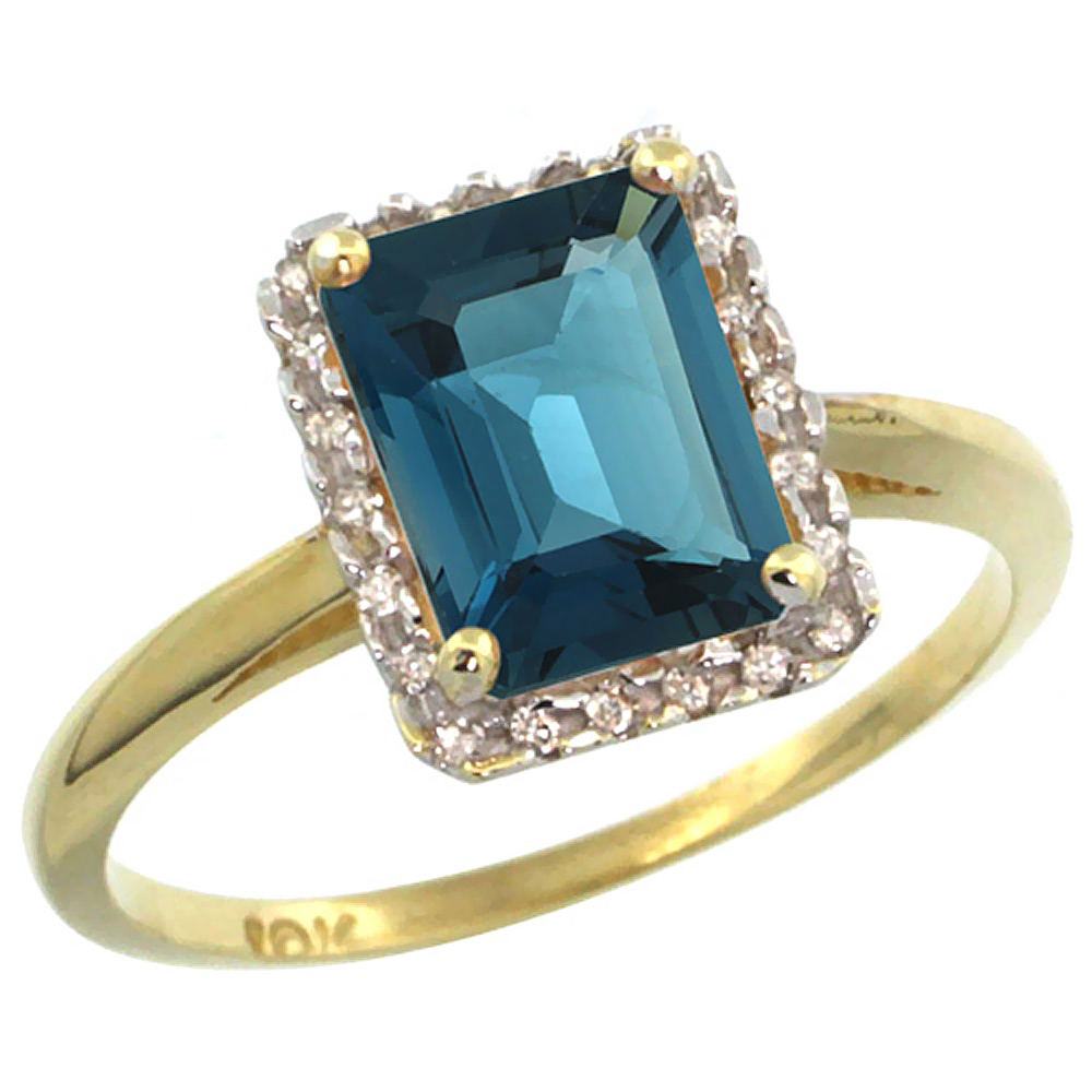 14K Yellow Gold Diamond Natural London Blue Topaz Ring Emerald-cut 8x6mm, sizes 5-10