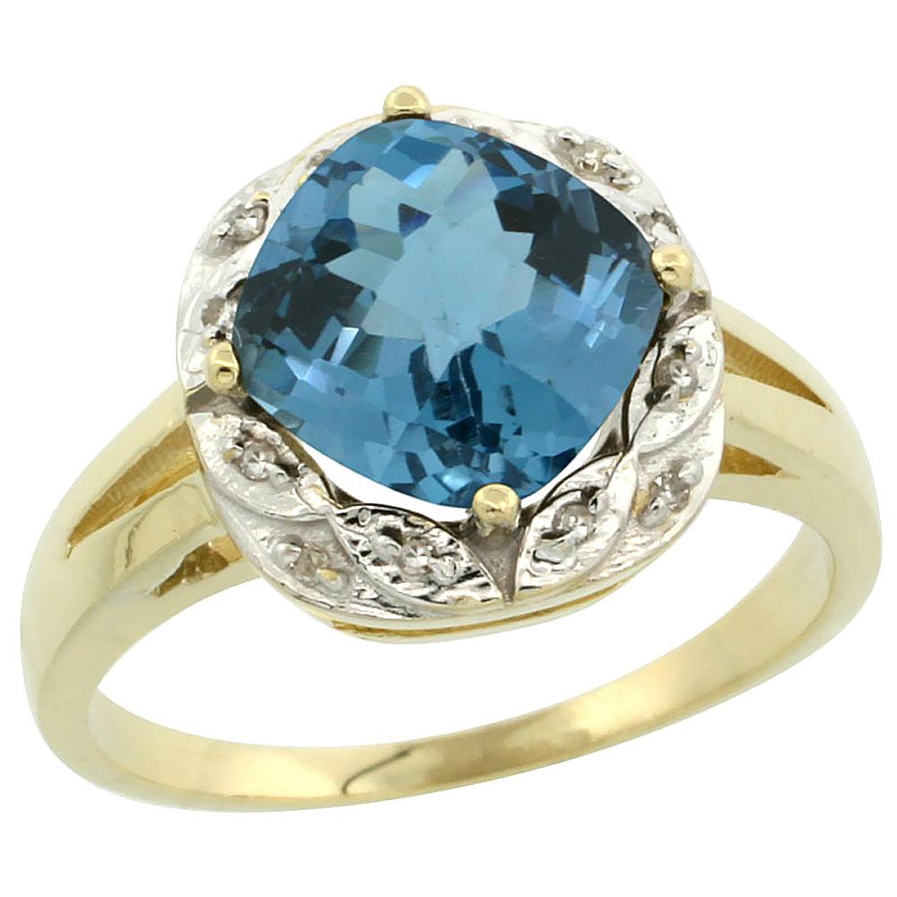 10k Yellow Gold Natural London Blue Topaz Ring Cushion-cut 8x8mm Diamond Halo, sizes 5-10