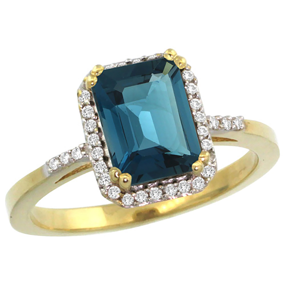 10K Yellow Gold Diamond Natural London Blue Topaz Ring Emerald-cut 8x6mm, sizes 5-10