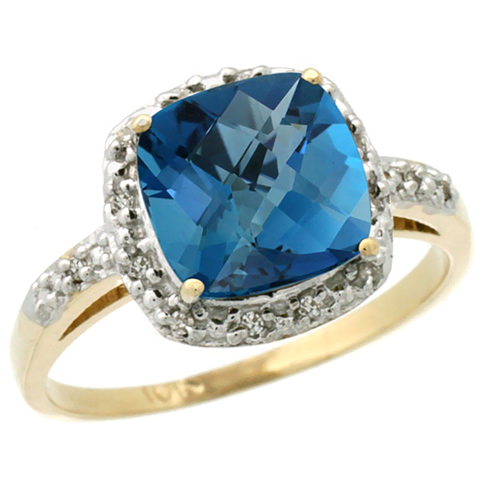 10K Yellow Gold Diamond Natural London Blue Topaz Ring Cushion-cut 8x8 mm, sizes 5-10