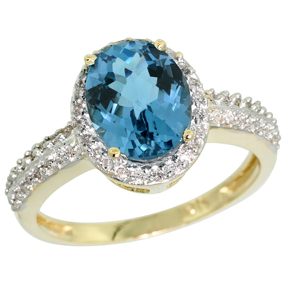 14K Yellow Gold Diamond Natural London Blue Topaz Ring Oval 9x7mm, sizes 5-10