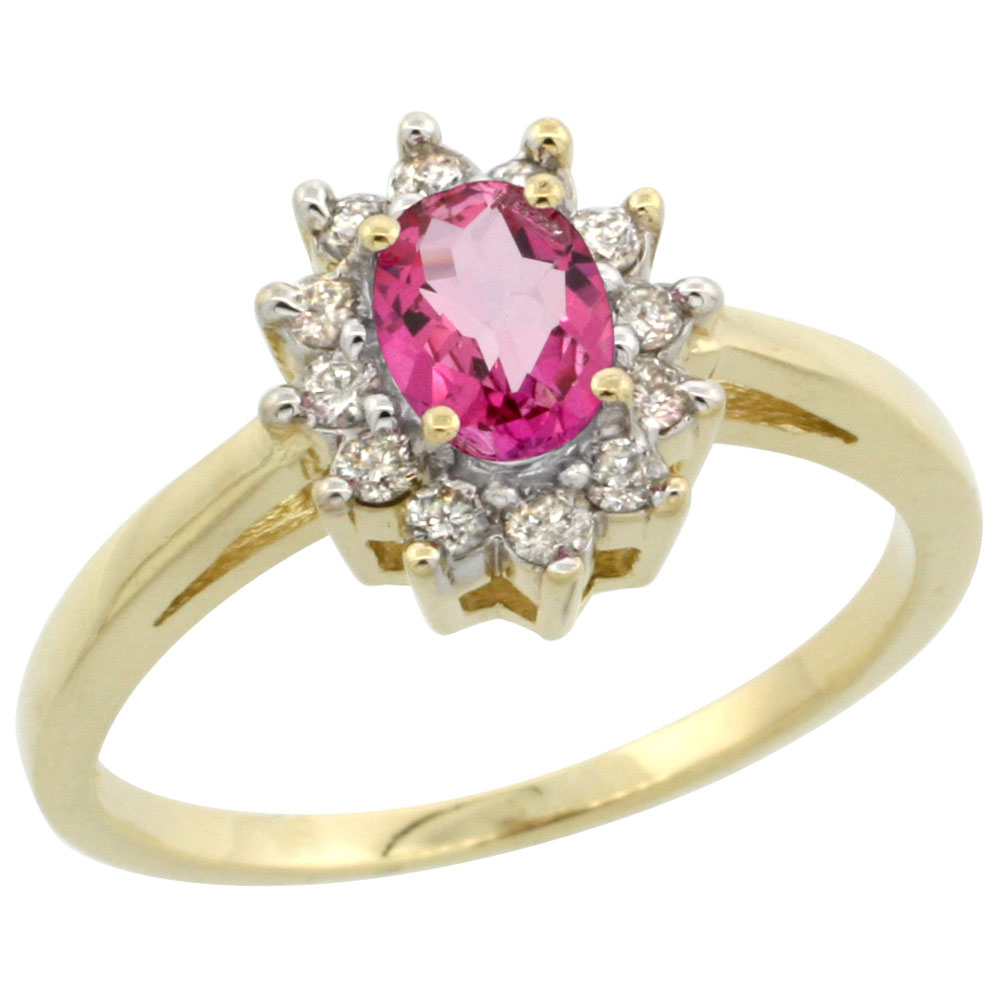 10K Yellow Gold Natural Pink Topaz Flower Diamond Halo Ring Oval 6x4 mm, sizes 5-10