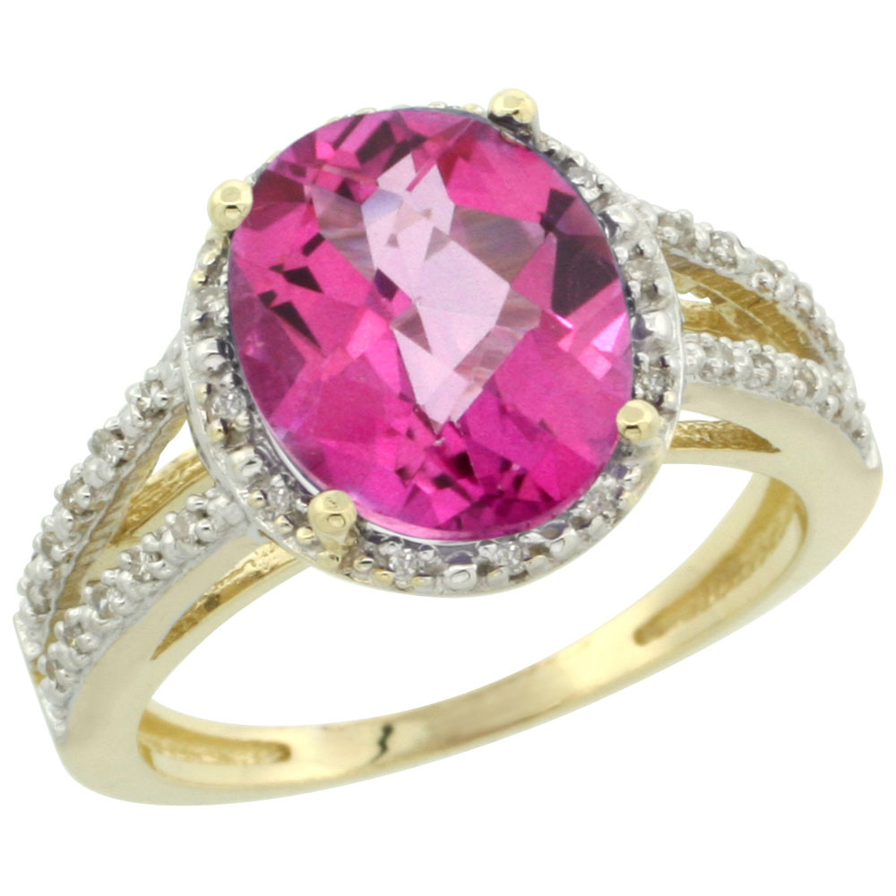 14K Yellow Gold Natural Pink Topaz Diamond Halo Ring Oval 11x9mm, sizes 5-10