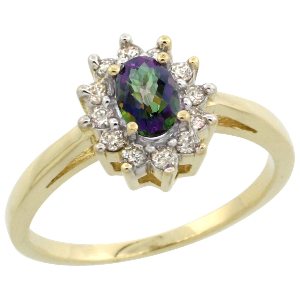10K Yellow Gold Natural Mystic Topaz Flower Diamond Halo Ring Oval 6x4 mm, sizes 5-10