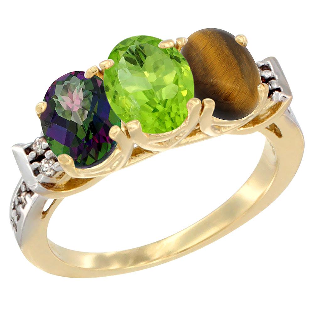 Sabrina Silver 10K Yellow Gold Natural Mystic Topaz, Peridot & Tiger Eye Ring 3-Stone Oval 7x5 mm Diamond Accent, sizes 5 - 10 at Sears.com