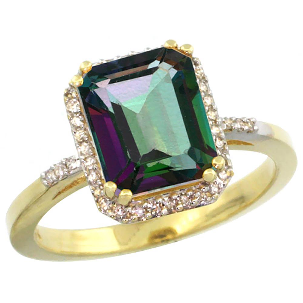 10K Yellow Gold Diamond Natural Mystic Topaz Ring Emerald-cut 9x7mm, sizes 5-10