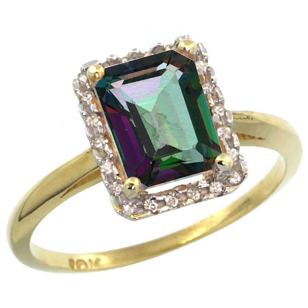 10K Yellow Gold Diamond Natural Mystic Topaz Ring Emerald-cut 8x6mm, sizes 5-10